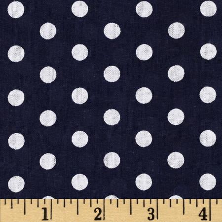 Forever Small Polka Dot Navy Fabric