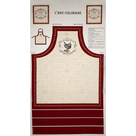 French Country Rooster Apron Panel Multi Fabric