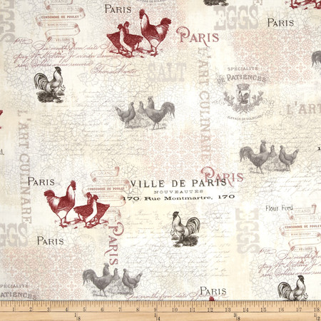 French Country Rooster Writing Multi Fabric
