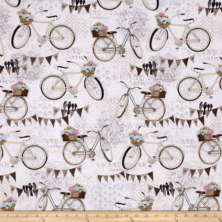 French Flea Market Bicycles Cream/Multi Fabric
