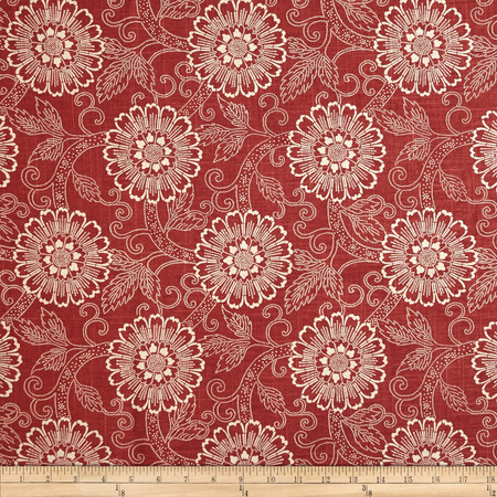 French General Brisbane Floral Blend Rouge Fabric By The Yard