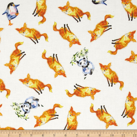 Friends in Wild Places Foxes Pandas Penguins White Fabric