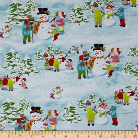 Frosty Flakes Scenic Blue Fabric By The Yard