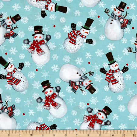 Frosty Fun Large Toss Aqua Fabric By The Yard