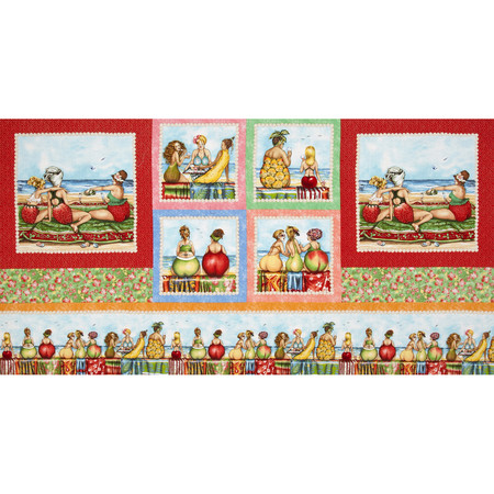 Fruit Ladies Patchwork Border Panel Multi Fabric By The Yard