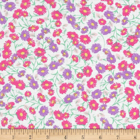 Fun Florals White Fabric By The Yard