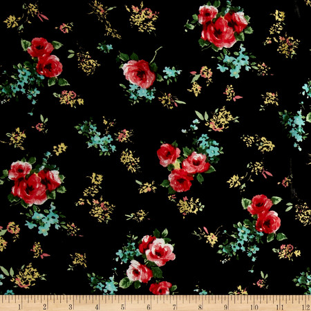 Garden Universe Rayon Challis Black/Light Coral Fabric By The Yard