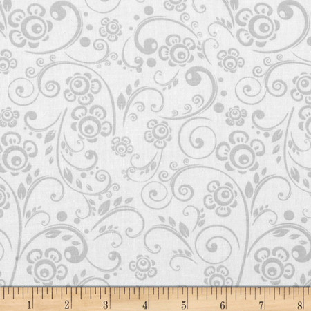 Get Back! 108'' Wide Floral Swirl Gray/White Fabric