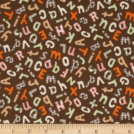 Gingham ABC's Chocolate Fabric