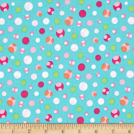 Girly-o-Saurus Dino Dots Aqua Fabric
