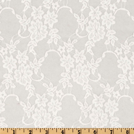Giselle Stretch Floral Lace White Fabric By The Yard