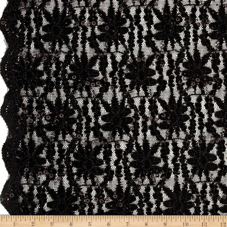 Glitter Embossed Lace Floral Small Black Fabric By The Yard