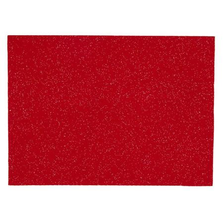 Glitter Felt 9'' x 12'' Craft Cut Red