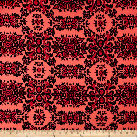 Glorious Garden Rayon Challis Coral/Black Fabric By The Yard