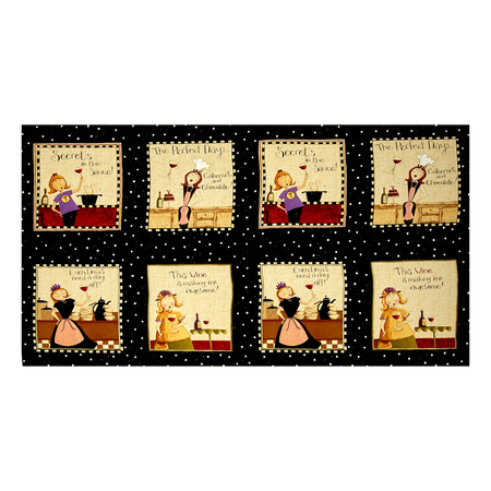 Go Ahead & Wine Block 24'' Panel Black Fabric By The Yard