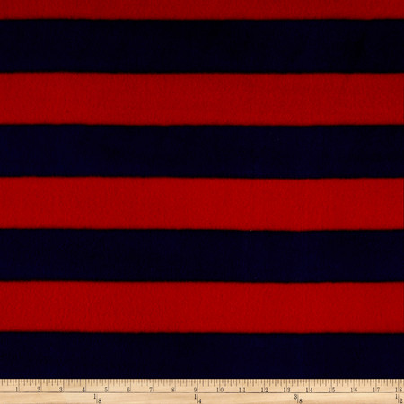 Go Team Fleece Navy/Red Fabric By The Yard