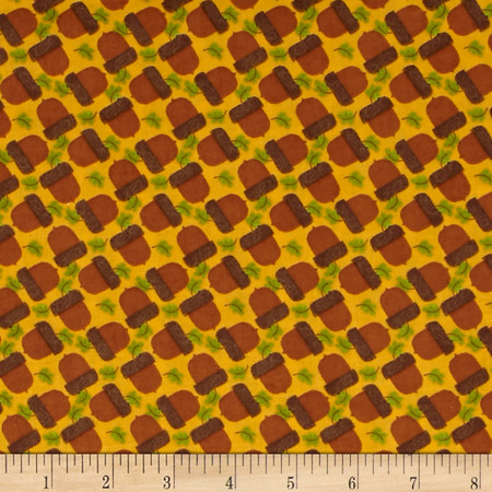 Gobble Gobble Pine Cones Yellow Fabric