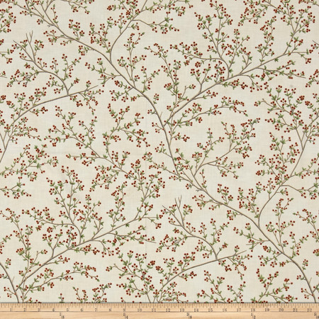 Good Tidings Berries Natural/Gold Fabric By The Yard