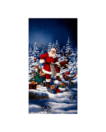 Good Tidings Jolly St. Nick 24 In. Panel Blue Fabric By The Yard