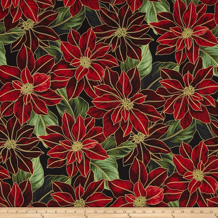 Good Tidings Metallic Packed Poinsettia Black/Gold Fabric By The Yard