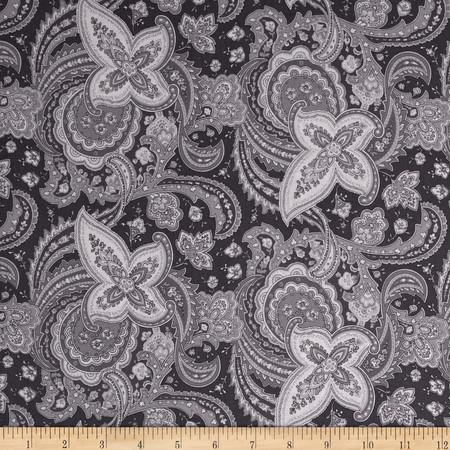 Gracious Skies Paisley Dark Grey Fabric