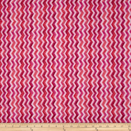 Gratitude Blooms Chevron Pink Fabric