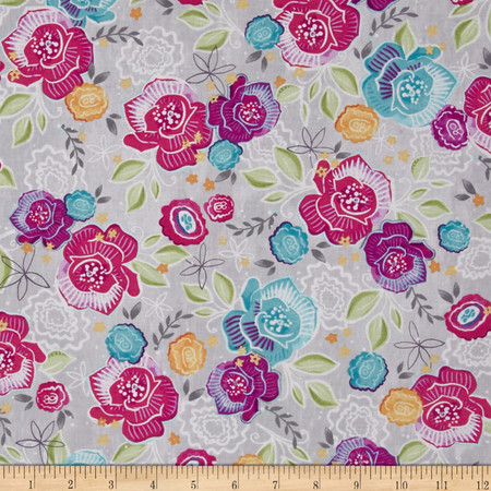 Gratitude Blooms Floral Grey Fabric
