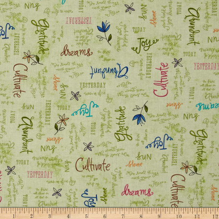 Gratitude Blooms Inspirational Words Green Fabric