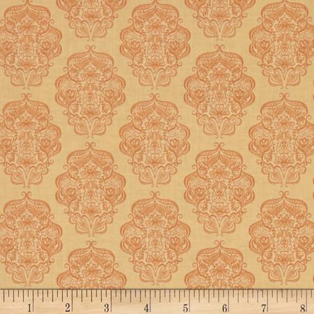 Gratitude Blooms Ogee Light Orange Fabric