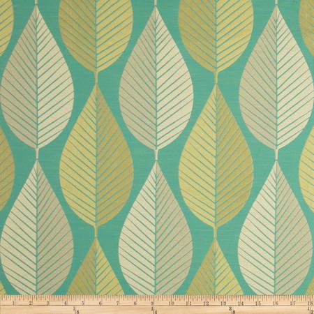 HGTV HOME Loose Leaf Jacquard Turquoise Fabric