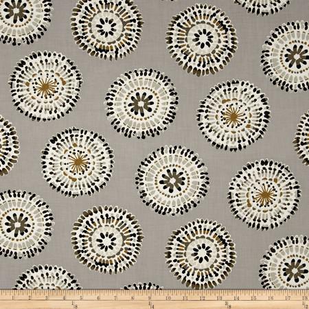 Hab-i-tat Medallion Grey/Tan Fabric By The Yard