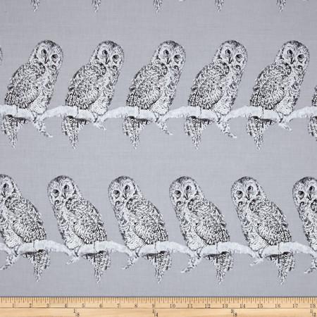 Halloween Gothic Owl Metallic Gray/Silver Fabric By The Yard