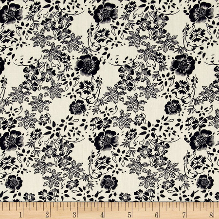Telio Hampton Court Cotton Shirting Floral Print Off White/Navy Fabric By The Yard