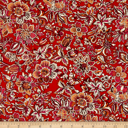 Telio Hampton Court Cotton Shirting Floral Print Red Fabric By The Yard
