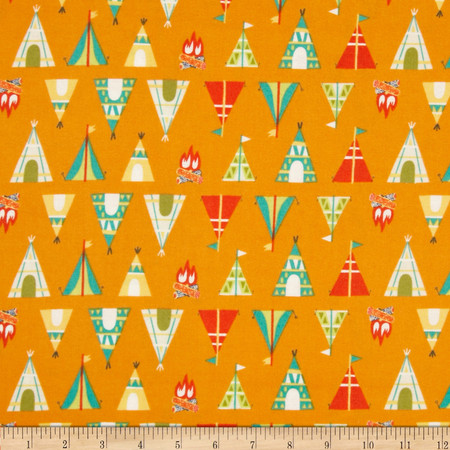 Happy Camper Flannel Teepees + Tents Orange Fabric