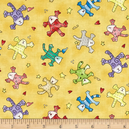 Happy Catz Tossed Catz Yellow Fabric