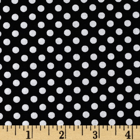 Happy Halloween Dotties Black/White Fabric By The Yard