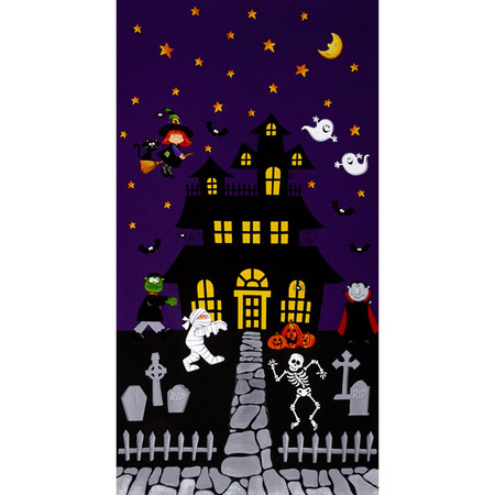 Happy Haunting 24 In. Panel Purple Fabric By The Yard
