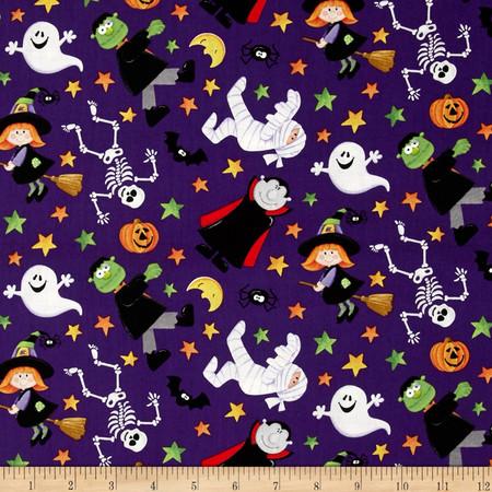 Happy Haunting Halloween Characters Purple Fabric