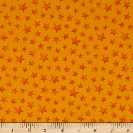 Happy Haunting Stars Orange Fabric