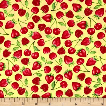Happy Hour Tossed Berries Yellow Fabric