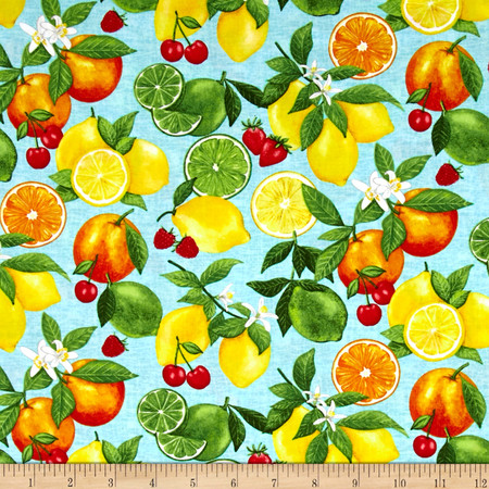 Happy Hour Tossed Fruit Blue Fabric