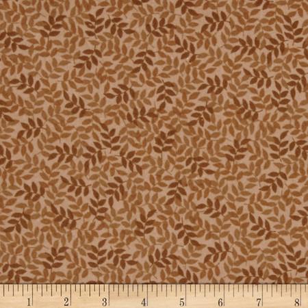 Harmony Flannel Leaf Toast Fabric By The Yard