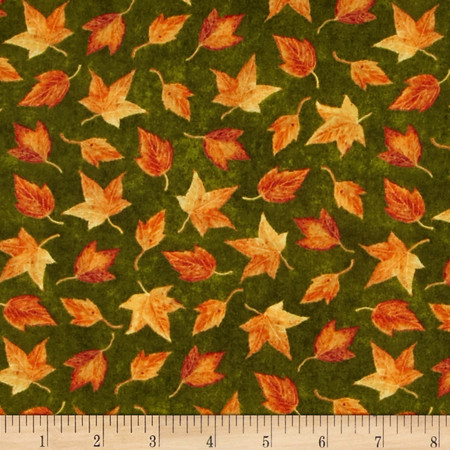 Harvest Botanical Leaves Green Fabric