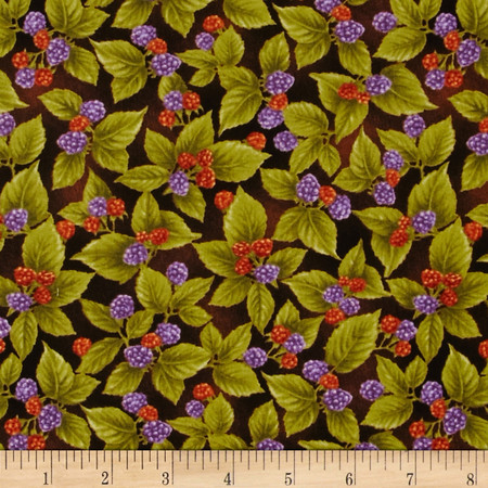 Harvest Botanical Small Berries Brown Fabric