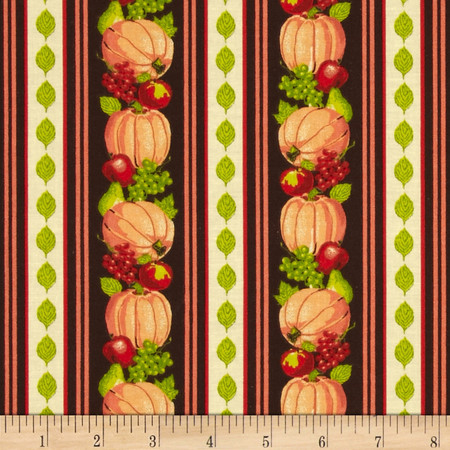 Harvest Bounty Repeating Stripe Pumpkin Fabric By The Yard