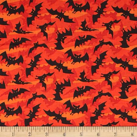 Haunted Hill Small Toss Bats Orange Fabric