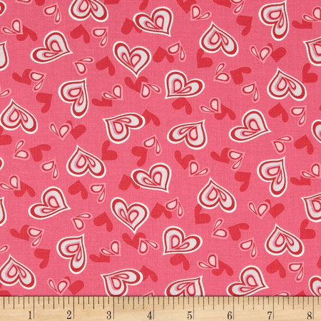 Heart & Soul Hearts Pink Fabric