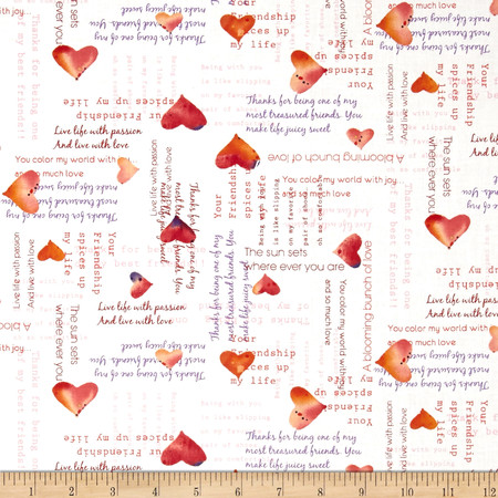 Heartfelt Hearts & Words White Fabric By The Yard