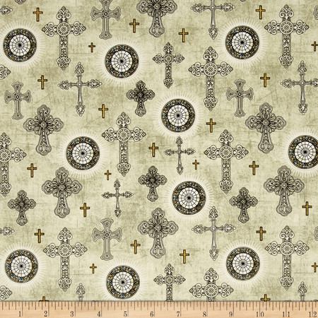 Heavenly Crosses Natural Fabric By The Yard